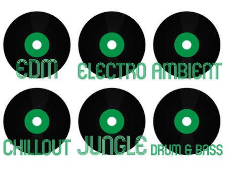 Electronic Music Genres Vinyl 8 Vector