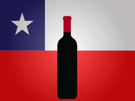 bandera chilena: Bandera de Chile con una botella de vino EPS10 Vectores