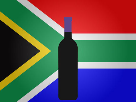 south african flag: South African Flag with a Bottle of Wine EPS10 Illustration