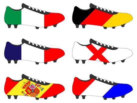 football cleats: Football Cleats with National Flags of Europe 1