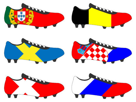 football cleats: Football Cleats with National Flags of Europe 2 Illustration