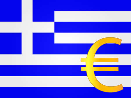 greek currency: Euro Currency Sign over the Greek Flag EPS 10