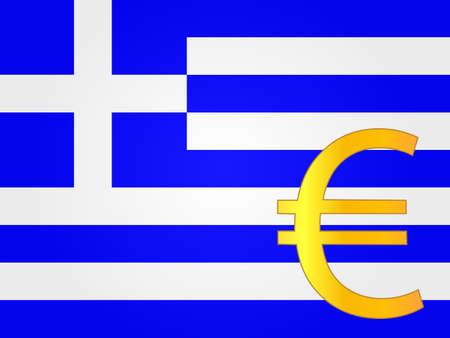 deregulation: Euro Currency Sign over the Greek Flag EPS 10