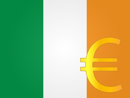 deregulation: Euro Currency Sign over the Irish Flag EPS 10