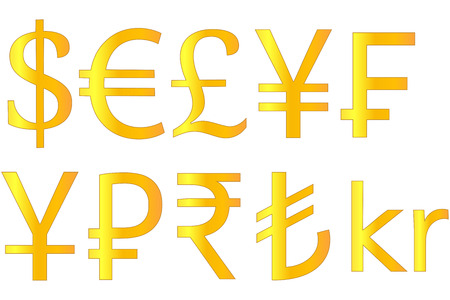 currencies: Golden Currencies Symbols Dollar Euro Pound Yen Swiss Franc Yuan Ruble Rupee Turkish Lira Krone