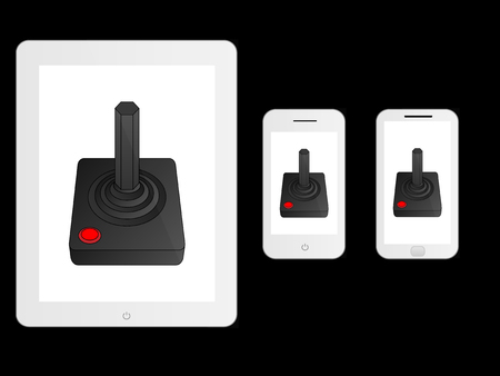 mobile devices: White Mobile Devices with Joystick Illustration