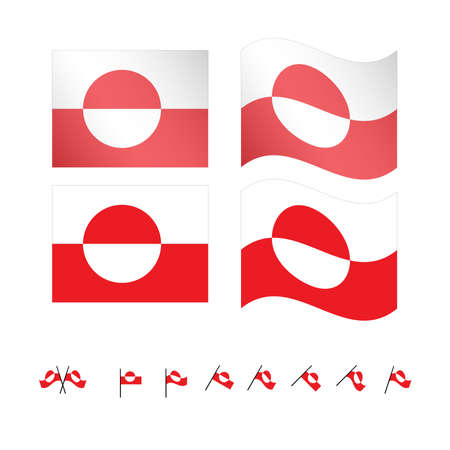 danish flag: Greenland Flags EPS 10
