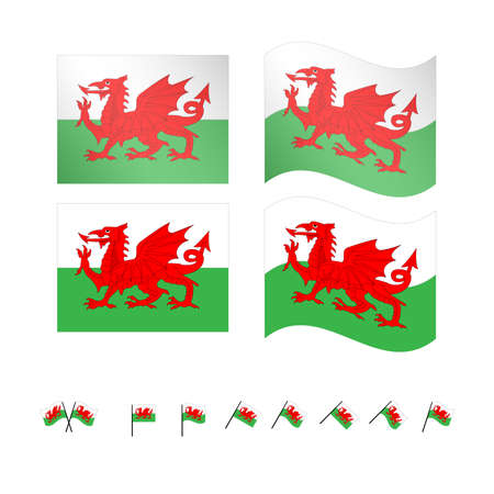 anglo saxon: Wales Flags EPS 10