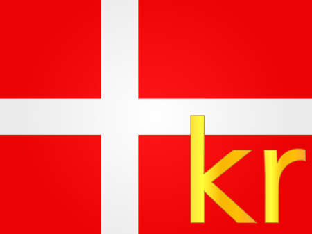 Krone Currency Sign over the Danish Flag