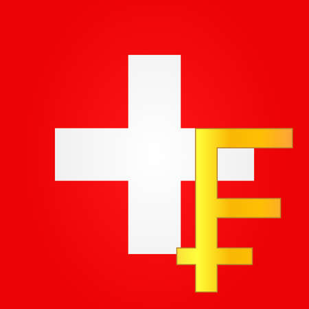 swiss flag: Franc Currency Sign over the Swiss Flag Illustration