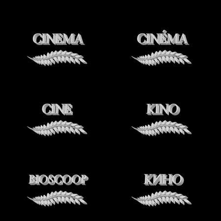 Cinema Laurels in Different Languages 3D 6 Vector