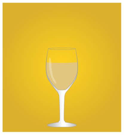 viticulture: Minimalist Drinks List with White Wine Golden Background Illustration