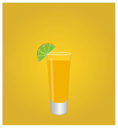 date night: Minimalist Drinks List with Tequila Golden Background Illustration