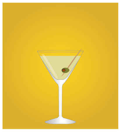 date night: Minimalist Drinks List with Martini Golden Background Illustration