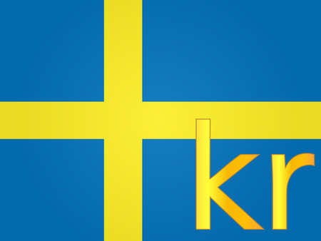 free enterprise: Krona Currency Sign over the Swedish Flag