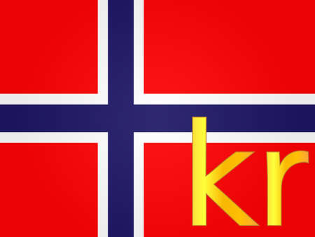 Krone Currency Sign Over The Norwegian Flag Royalty Free Cliparts