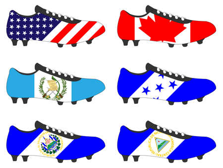 football cleats: Football Cleats with National Flags of America 3 Illustration
