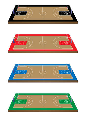 sports field: Set of Basketball Courts in Different Colours with Hoops Illustration