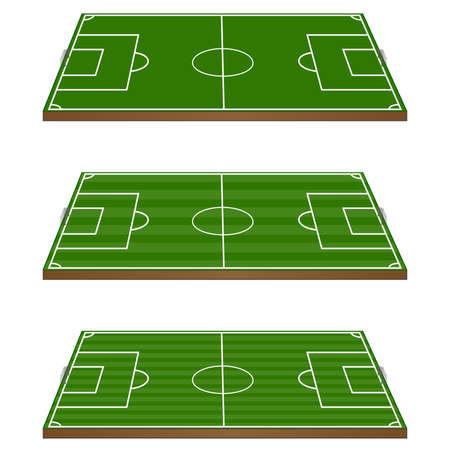 tactics: Set of Football Fields 3D with Goals Illustration