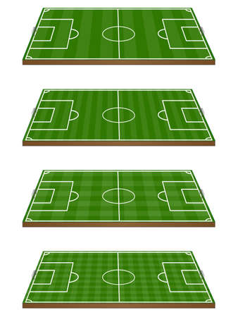 offside: Set of Football Fields 3D with Goals 2 Horizontal and Vertical Pattern