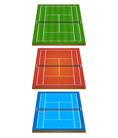 hard court: Set of Tennis Courts 3D with Nets 1 Illustration