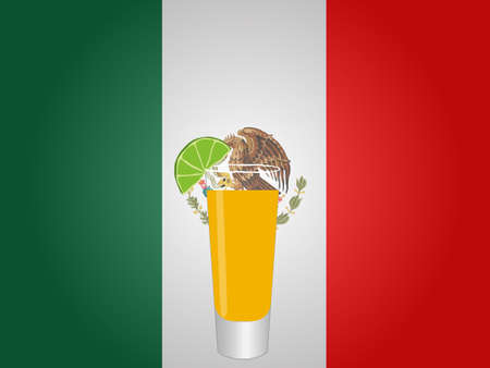 mexican flag: Bandiera messicana con Tequila Colpo EPS10