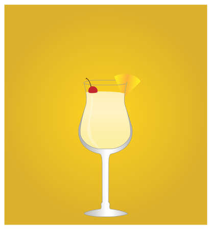 date night: Minimalist Drinks List with Pina Colada Golden Background EPS10