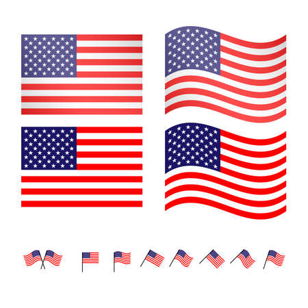 united states flags: United States Flags 2 EPS10 Illustration