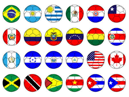 qualify: Footballs with Flags of the Americas with Coat of Arms