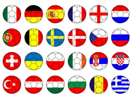 Footballs with Flags of Europe with Coat of Arms Illustration