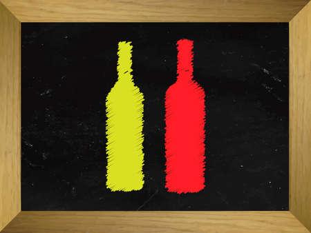 Wine Bottles Drawn on a Chalkboard