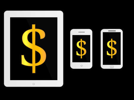 mobile devices: White Mobile Devices with Dollar Sign