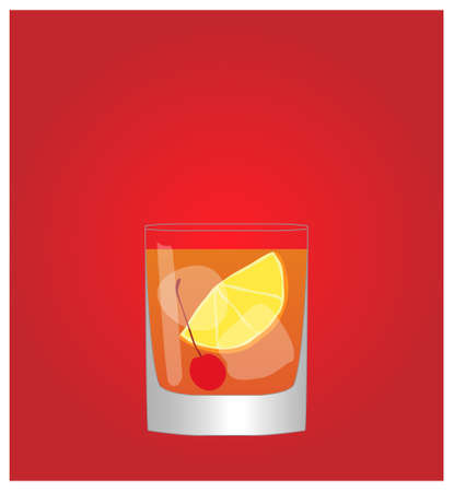 old fashioned: Minimalist Drinks List with Old Fashioned Red Background