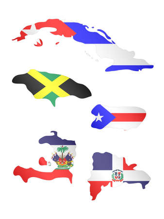 havana cuba: Greater Antilles Maps with Flags  Illustration