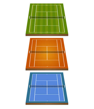 concrete court: Set of Tennis Courts 3D with Nets