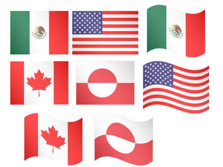 North America Flags  Illustration