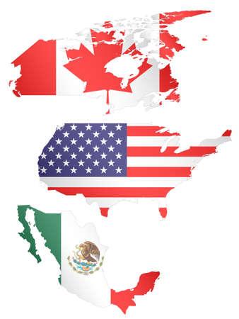 フラグを持つ北アメリカ マップ