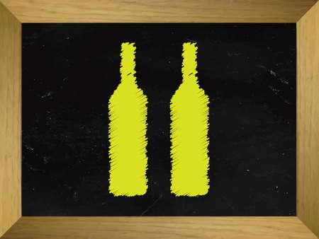 sommelier: Wine Bottles Drawn on a Chalkboard