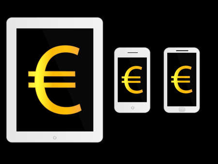mobile devices: White Mobile Devices with Euro Sign