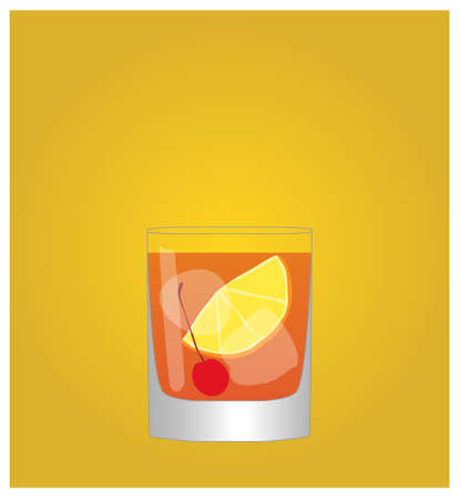 fashioned: Minimalist Drinks List with Old Fashioned Golden Background  Illustration