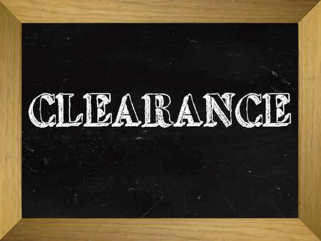 discount banner: Clearance Text Written on a Chalkboard