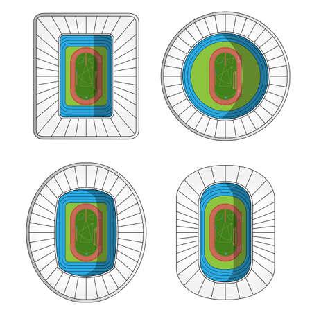 Set of Athletics Stadiums  Ilustrace