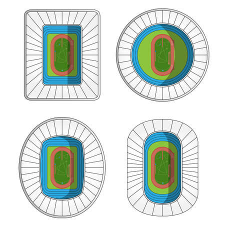 outdoor seating: Set of Athletics Stadiums  Illustration