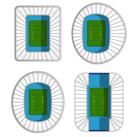 rugby field: Set of Rugby Stadiums Illustration
