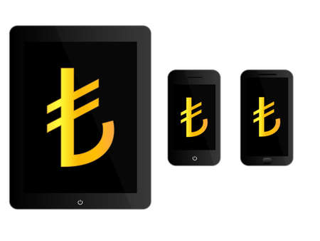 mobile devices: Black Mobile Devices with Lira Sign Illustration