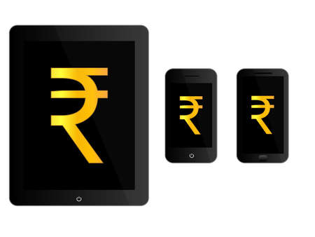 media gadget: Black Mobile Devices with Rupee Sign