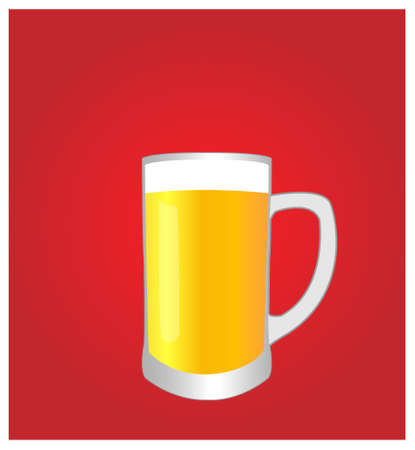 dinner date: Minimalist Drinks List with Beer Red Background Illustration