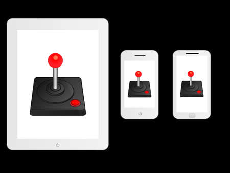 mobile devices: White Mobile Devices with Arcade Joystick Illustration