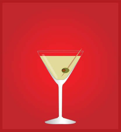 date night: Minimalist Drinks List with Martini Red Background  Illustration