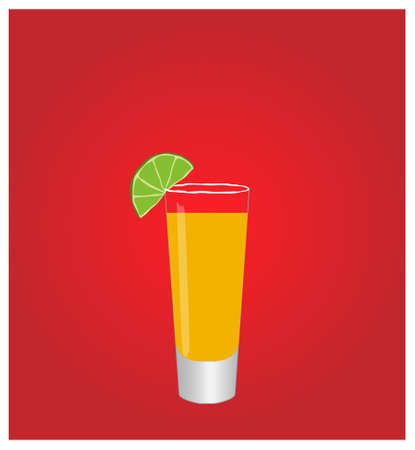 hangover: Minimalist Drinks List with Tequila Red Background  Illustration